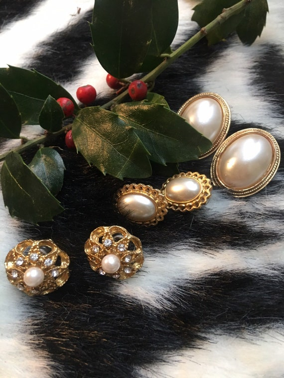 3 pairs of Vintage Faux Pearl and Goldtone Pierced Earrings