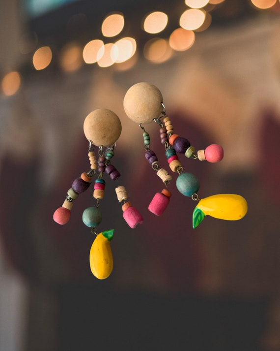 Mid Century Rainbow Fruity Wood Dangles Statement Earrings. Pretty Eames Style Colorblock Pastel Colors Wood Beads with yellow fruit dangles