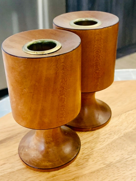 Mid Century Modern Teak Style Wooden Candle Holders, Signed by Artisan Hand Crafted Cherry Wood