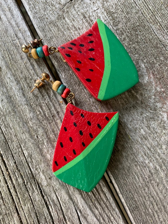 Vintage Hand Painted Watermelon Fruity Dangles,  Chunky Primitive Folksy Wooden Colorful Summer Earrings