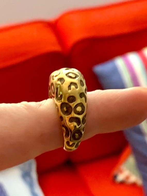 St JOHN LEOPARD Cocktail RING, Big Bold Bling, 80s Glam High End Designer Jewelry,