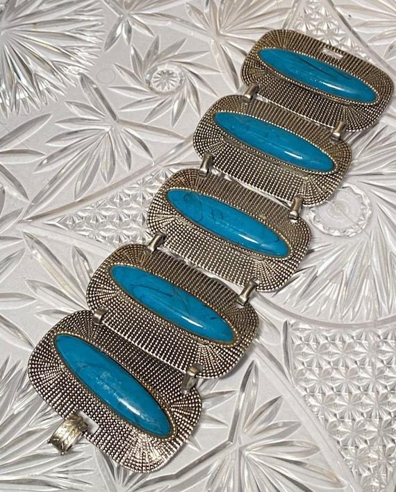 Selro Selini Faux Turquoise Panel Statement Bracelet, Distinctive Exotic Mid Century Costume Jewelry