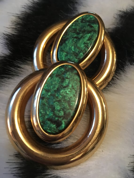 Big Bold Jewelry Vintage 80s Unsigned CORREANI For VERSACE Faux Malichite Clip On Awesome 80s Starement Earrings, Wicked Cool