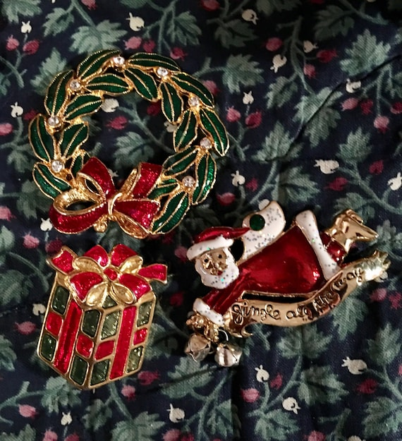 Festive Trio of Three vintage holiday brooches: Santa Wreath & a Package