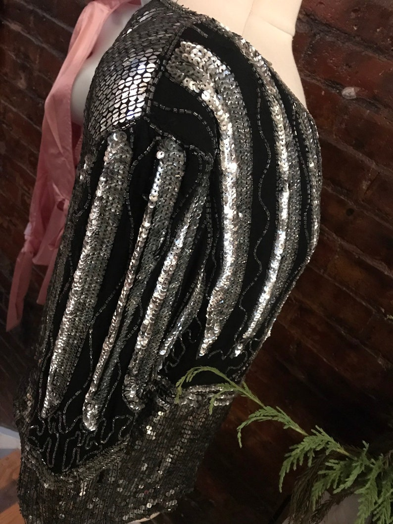 fun Party Top AS IS  90s still great Sequin Top Blouse lots of wear still Some minor Bead Loss Blacks and Silvers needs a bit of TLC