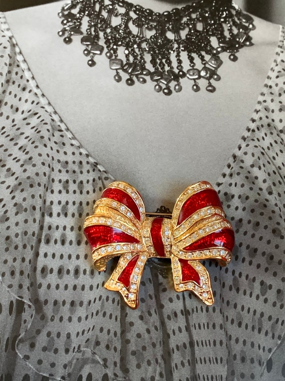 Gift Yourself! In this Festive Red Enamel & Ice Rhinestone on Gold Tone Striped Bow Holiday Pin, Vintage Christmas Brooch