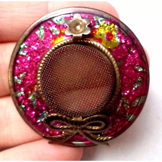 Antique Vintage Brassy Goldtone Flower Pink Glitter Spring Summer Hat Brooch Pin
