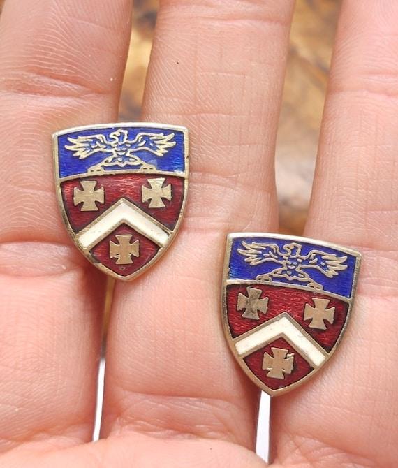 Mid Century Heraldic Medal Maltese Cross Gold & Silvertone Vintage Screw Back Earrings, Coat of Arms