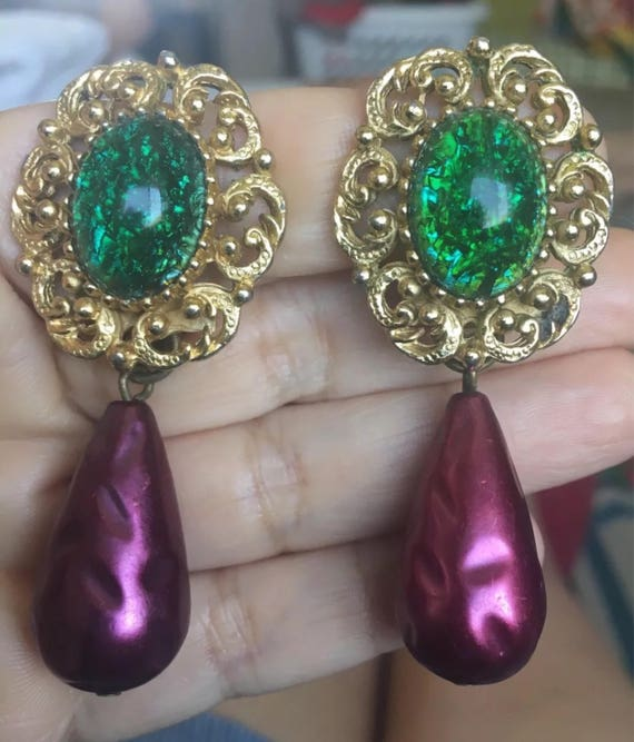 Huge Runway Designer QLTY Burlesque Drop & Dangles Goldtone with Purple Baroque Pearls and Green Glass Cabochons