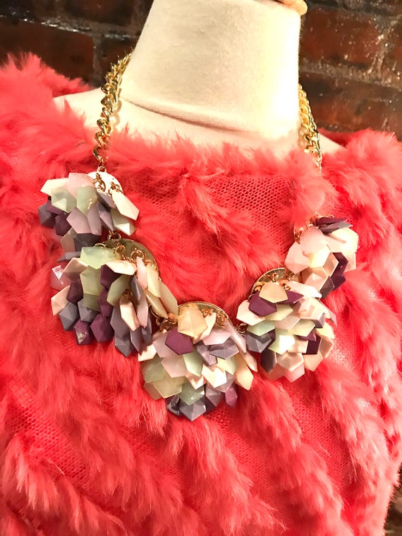 Floral Lavender  Green & PInk Shingled  Acrylic Tiles  Statement NECKLACE! Summer Glamour Jewelry,  Mothers Day Gift!