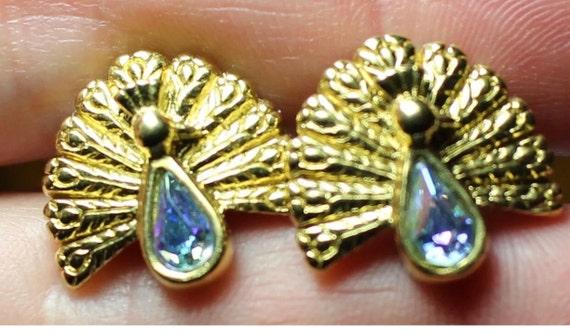 Sweet little Goldtone Peacock Earrings with Light Aqua Blue Crystals Rhinestone Gems