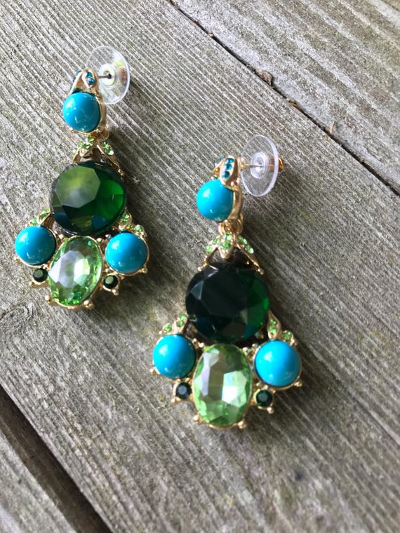 unsigned designer pair of higher end costume jewelry chandelier earrings with faux turquoise and emerald stones in goldotne