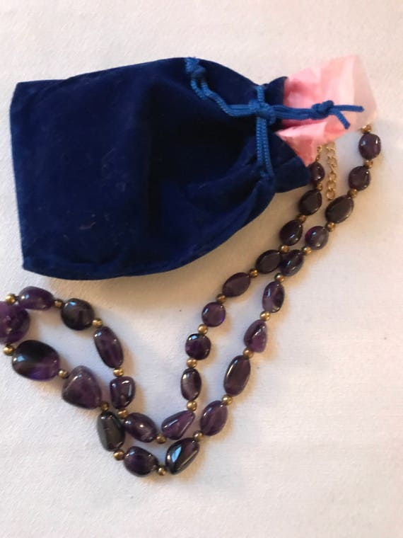 Bling Treat! 20 Dollar Bling goodie this one is a Vintage Polished Purple Stone & Goldtone Beaded Necklace Great treat gift