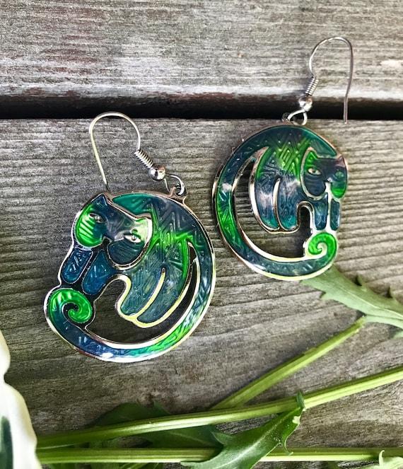 Blue & Green Enamel Cloisonné Berebi Graphic Art Cat Earrings