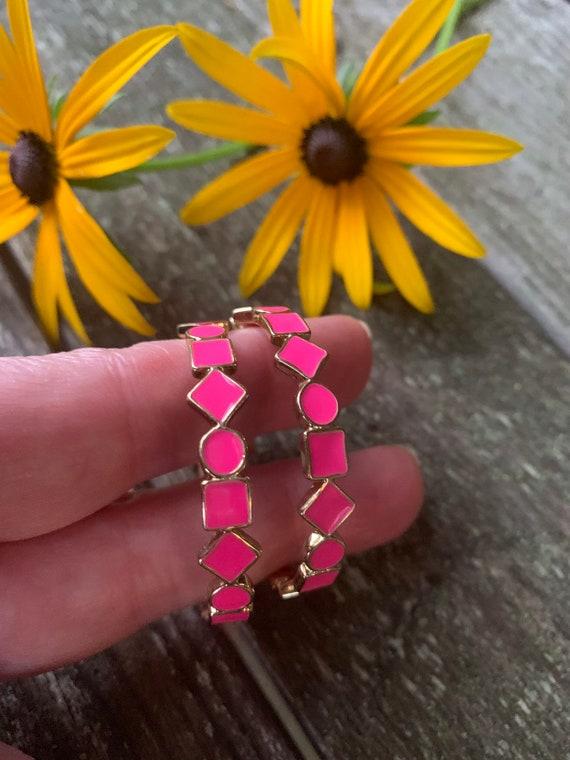 Awesome 80s Barbie Pink Enamel Geometric Hoops