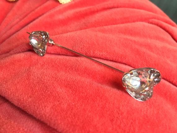 Exquisite EISENBERG Sparkling Ice Rhinestone Heart Glamorous Vintage Stick Pin