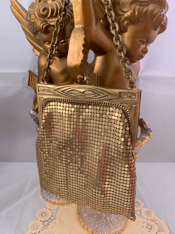Antique Whiting and Davis Gold Mesh Mini Purse Evening Bag