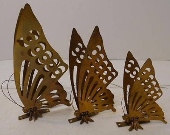 Mid Century Boho Decor Vintage Brass Butterfly Wall Plaques, Set Of 3 Metal Wall Decorations, Boho Dorm Room
