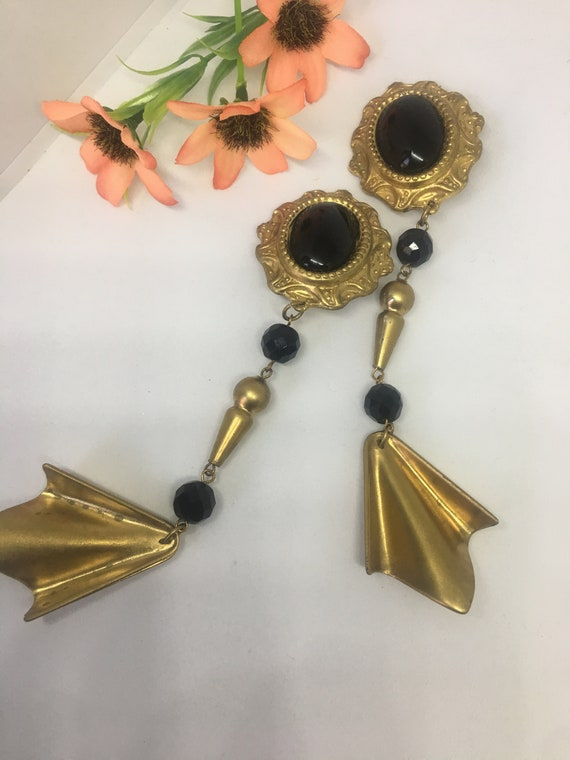 Huge Black and Gold Statement Earrings, Vintage Baroque Burlesque Runway Shoulder Dusters, Gorgeous 90s Glamour Jewelry!