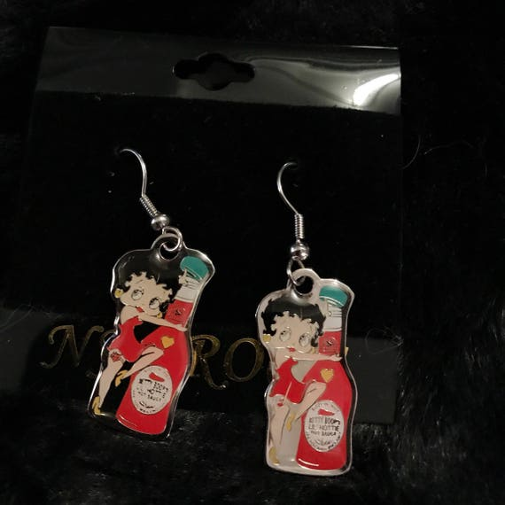 Betty Boop & her hot sauce Earrings - stocking stuffers : )