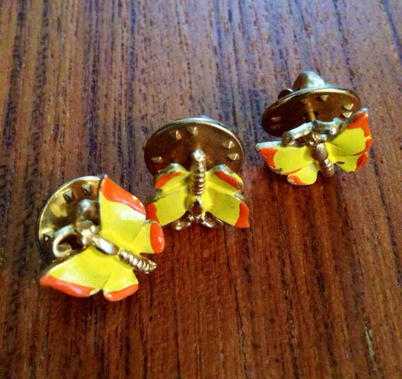 3 vintage yellow & orange tack pin butterflies