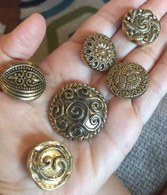 A Set of 6 Really exquisite Modernist with an Etruscan Victorian Revival Twist Antiqued Goldtone 80s Bling Hipster Fashionista Button Covers