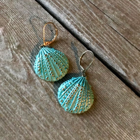 Dreamy Teal Turquoise Blue Mermaid Scallop Shell Dangle Earrings with Elegant golden accents & Latch back Earring Wires