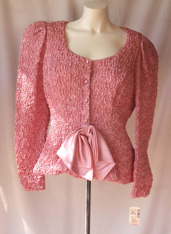 Vintage Saks 5th Ave Pink Peplum Jacket By Farinae Collections, cool Scrunchy fabric