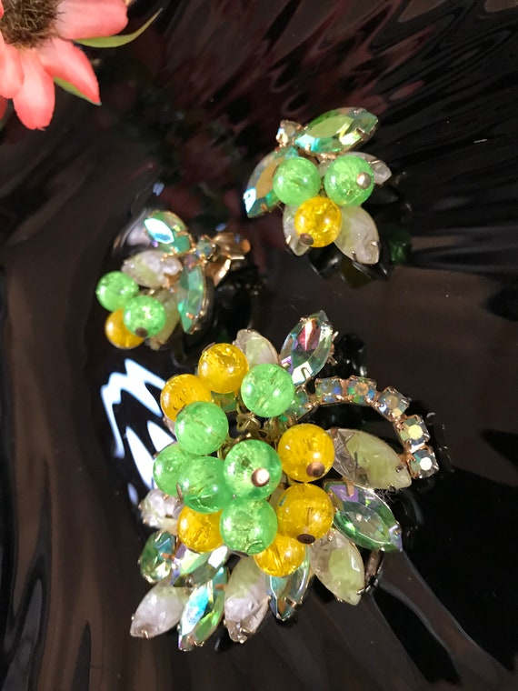 Resort Season Juliana Citrus Cluster Bead Set, Mid Century Neon Lime and Lemmon Dangling Beads & Sparkling AB Crystals , Palm Beach Style