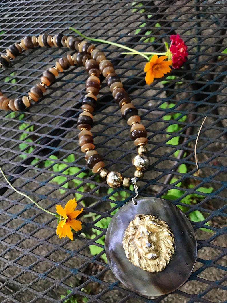 Over the Top 70s Hip Hop Disco Glamour Jewelry Massive Vintage Golden Lion Medallion Necklace