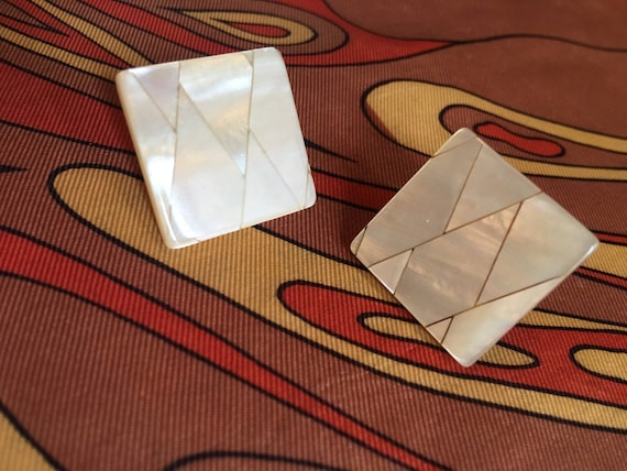 Beautiful Vintage Mother of Pearl Square Mosaic Tiled Post Earrings