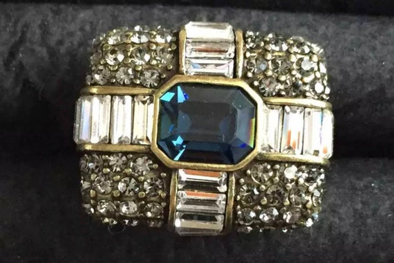 Huge Vintage Heidi Daus Cocktail Ring Clear Rhinestone Gold tone Size 8