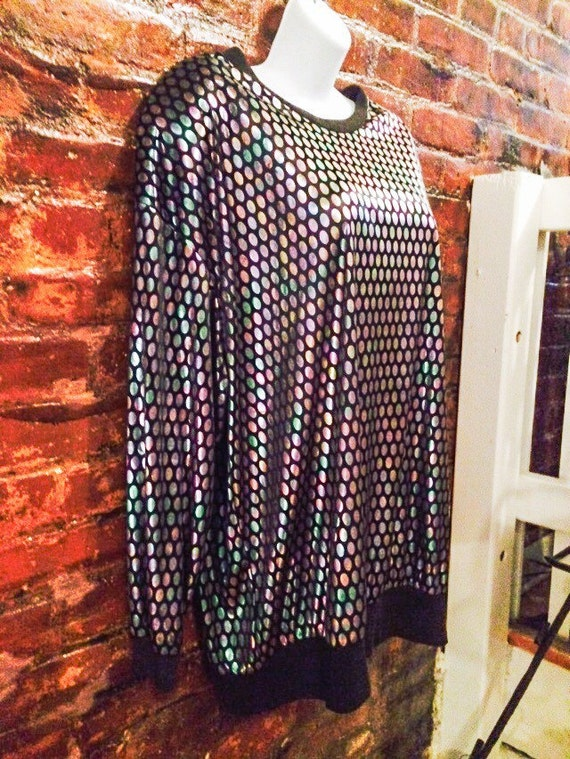 Shimmery Silver Disco Polka Dots on black oversized Top, Awesome 80s Pullover Vintage Blouse with shoulder pads