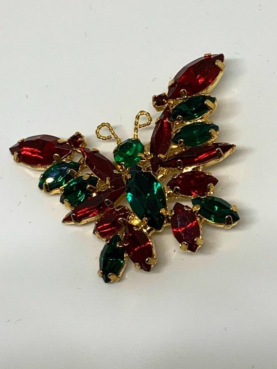 Holiday Christmas Colors Butterfly Pin, Navette Rhinestones & Fancy Goldtone, Hollywood Regency Vintage Brooch, Gift under 50 dollars
