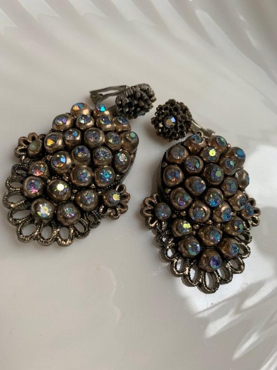 Elegant Gothic Baroque Aura Borealis Rhinestone Dangles, Regal & Romantic Statement Earrings
