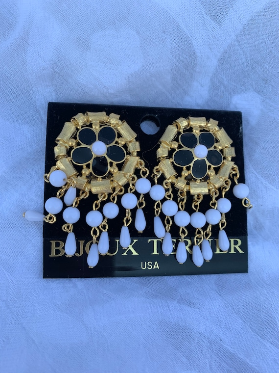 Big Bold Sexy 90s Statement Earrings, Black and White Beaded Fringy Dangles, Glamour Jewelry by Bijoux Terner