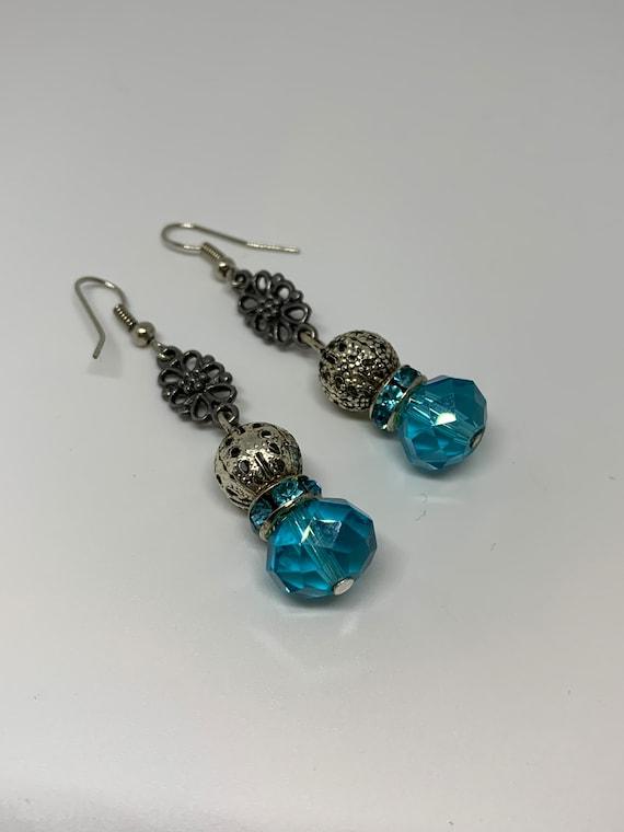 Aqua Blue Crystal Gem & G Silvertone Floral Dangles, Sexy Date Night Statement Earrings