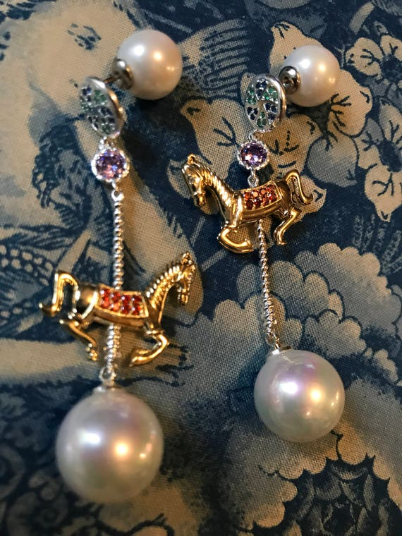 Carousel Horse Earrings! QUALITY 925 Sterling  Creamy Faux Pearl with Pink Blue & Red Crystal Rhinestones -Glamour Jewelry RUNWAY EARRINGS