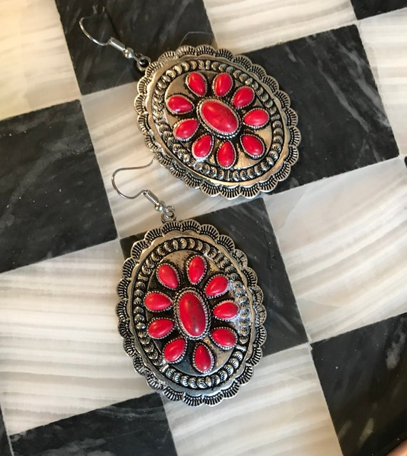 Red Cabochon Silvertone Concha Earrings, Vintage Boho southwestern Costume Jewelry Statement Earrings