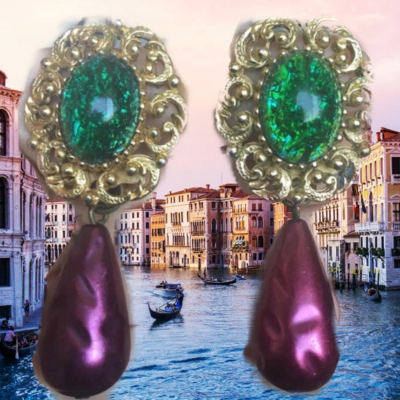 Huge Purple & Green Baroque Teardrop Dangles, Faux Baroque Pearls with Glass Cabochon Runway Statement Earrings
