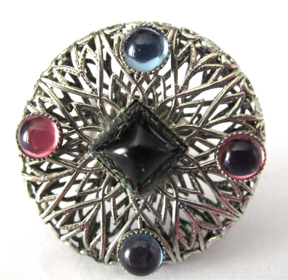 HUGE Silvertone Filigree Colorful Cabochon Vintage Boho Hippy Victorian Rivivial Cuff Ring