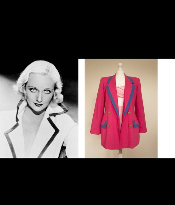 Vintage Oleg Cassini Cream and Navy or Hot Pink Double Breasted Blazer, Classic Upscale 80s Preppy High Fashion Designer Jacket sz 10