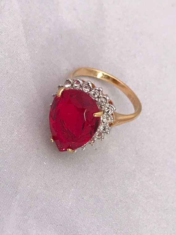 Big Red & Clear Zirconia Teardrop Shaped Bling  Statement Cocktail Ring