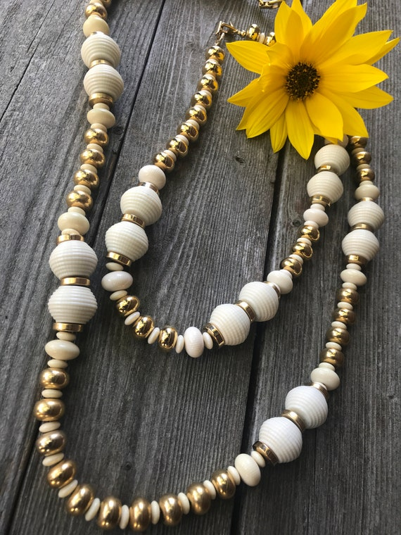 A Matching Pair of Signed Napier Chunky 70s Vanilla Cream Lucite & Goldtone Beads Better Fashion Jewelry Statement Necklaces