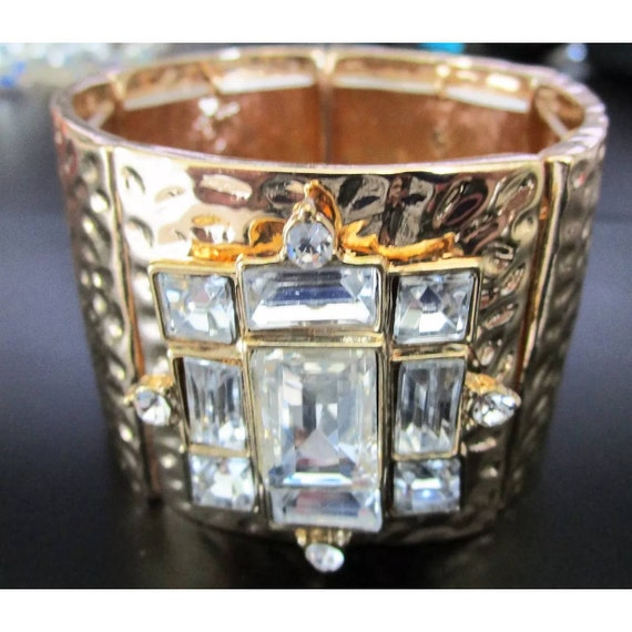 Beautiful Sparkling Ice Rhinestone Square Panel Goldtone Bracelet