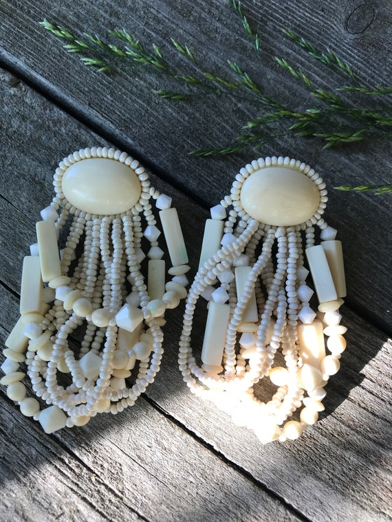 Awesome 80s Cream Beaded Big Bling Boho Gypsy Tribal New Wave Statement Earrings, MTV Style!