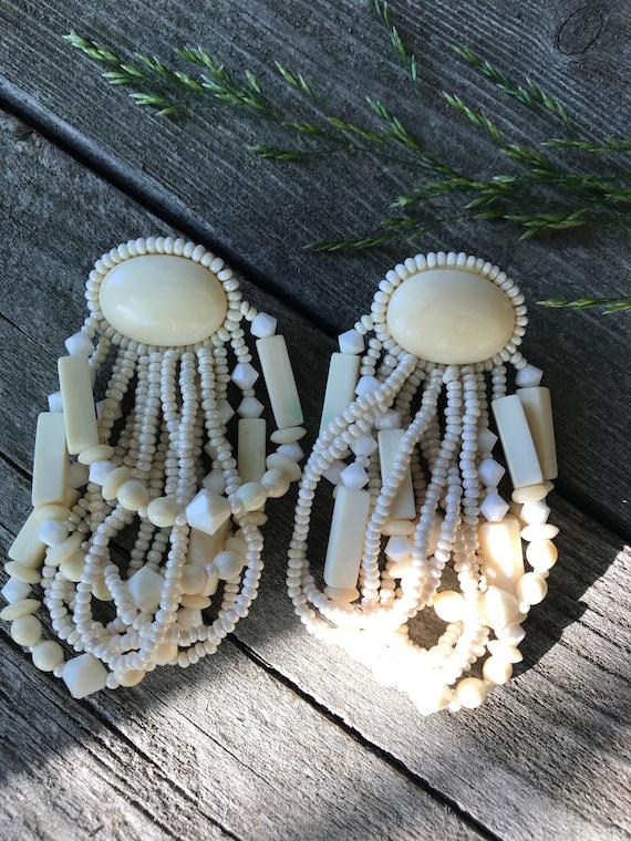 Amazing Artisan Vintage 80s Off white cream draping Beaded Boho  Bling Earrings