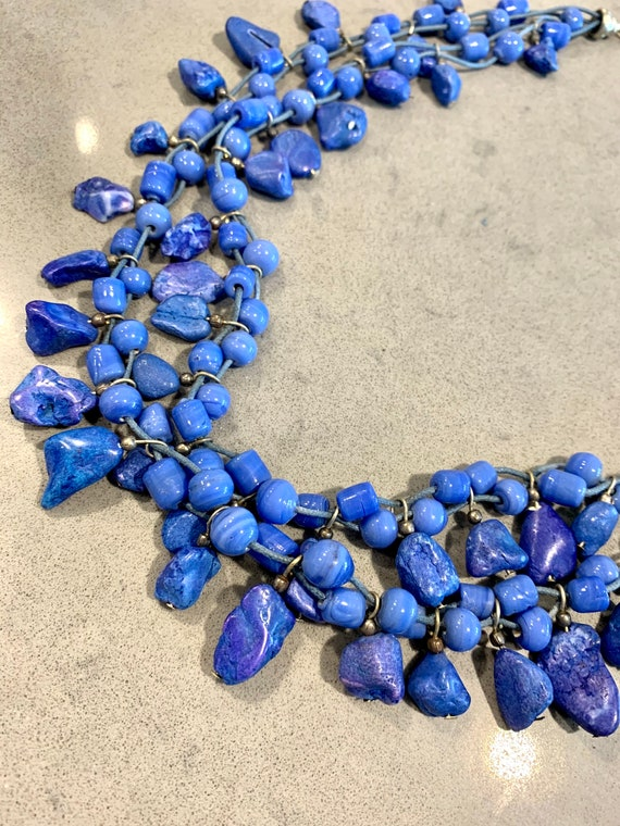 Artsy Periwinkle Blue Statement Necklace, Beautiful color- dyed stones and glass beads- eclectic boho multi strand Beads