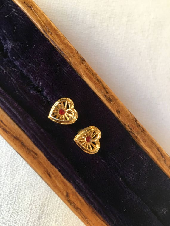 Dainty Vintage Open Work Goldtone Earrings with Red Gem Centers Post Backs