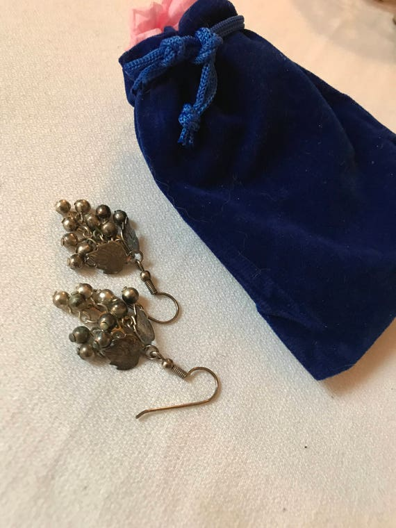 Bling Treat! 10 Dollar Bling goodie this one is a A nicely gifted vintage sustainable Enamel & polished Stones dangle Earrings Great  gift